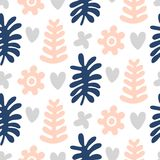 Hand drawn floral seamless repeat pattern. Spring, summer flowers, leaves, trendy colors. Bold fabric design, textile print, gift wrapping paper, wall art Royalty Free Stock Image