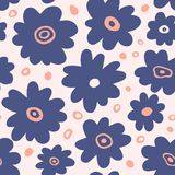 Hand drawn floral seamless repeat pattern. Spring, summer flowers, leaves, trendy colors. Bold fabric design, textile print, gift wrapping paper, wall art Stock Images