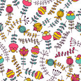 Hand drawn floral seamless vector pattern. Royalty Free Stock Photos