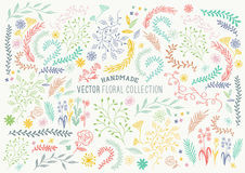 Hand Drawn Floral Set. Handmade collection of flower and plant decorations. Vector illustration Royalty Free Stock Photos
