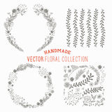 Hand Drawn Floral Set. Handmade collection of flower and plant decorations. Vector illustration Stock Photos