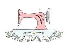 Hand Drawn Floral Sewing Machine Vector royalty free stock photos