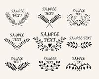 Hand drawn floral symmetric graphic design Stock Images