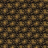 Hand drawn floral tossed pattern. Vector seamless background. Stylized ink flower stem illustration. Trendy retro gold style home. Hand drawn floral tossed stock images