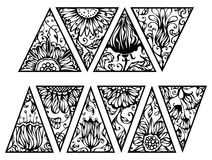 Hand drawn floral triangles. Vector triangles with floral ornament isolated on white background Stock Photography