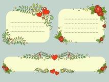 Hand drawn floral Valentine`s day romantic frames vector set. Doodle ornate floral Valentine`s day frames set. Romantic vector elements for your design Stock Image