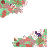 Hand drawn floral vector doodle corner card design Stock Images