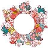 Hand drawn floral vector doodle round color card design Stock Image