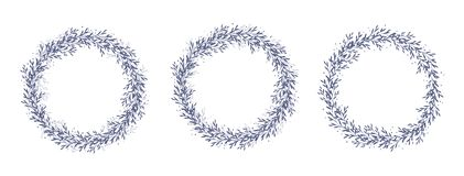 Hand Drawn Floral Vector Wreaths. Delicate Dark Blue Round Shape Garlands. Navy Blue Delicate Twigs. White Backgrounds. Cute Simple Design. Circle Shape Sprig royalty free illustration