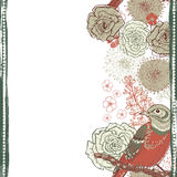 Hand drawn  floral vertical seamless border with bird Royalty Free Stock Images