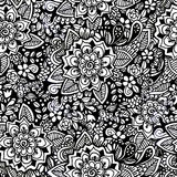 Hand drawn floral wallpaper with set of different flowers. Stock Images