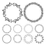 Hand drawn floral wreath clip art, round frame with leaves Royalty Free Stock Images