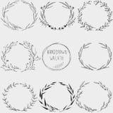 Hand drawn floral wreath. Vector vintage illustration stock illustration