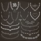Hand-Drawn Floral Wreaths, Laurels Royalty Free Stock Photos