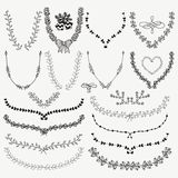 Hand-Drawn Floral Wreaths, Laurels Royalty Free Stock Images