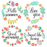Hand Drawn Floral Wreaths Royalty Free Stock Photo