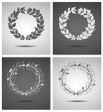 Hand drawn floral wreaths set made in vector Royalty Free Stock Photography