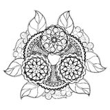 Hand drawn floral zentangle on white background Royalty Free Stock Images