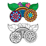Hand drawn floral zentangle on white background Stock Photo