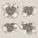 Set of floral vector design frame with big heart. Linear roses, eucalyptus, berries, leaves witn white silhouette. Hand vector illustration