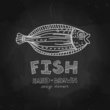 Hand-drawn flounder fish with Fish label on Stock Photography
