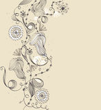 Hand-drawn flower. Abstract background with  hand-drawn fantasy flowers Stock Photography