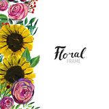 Hand drawn Flower Border. Watercolor Floral Background. Hand painted border of flowers. Good for invitations and greeting cards. Frame of sunflowers, roses Stock Images