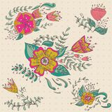 Hand drawn flower bouquet set. Pastel background with polka dots. Retro flowers in . Cute floral bouquets. Royalty Free Stock Image