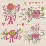Hand drawn flower bouquet set. Retro flowers in . Royalty Free Stock Images