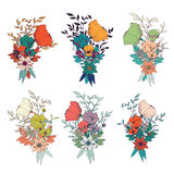 Hand Drawn Flower Bouquets, For Wedding Invitations And Birthday Royalty Free Stock Photography
