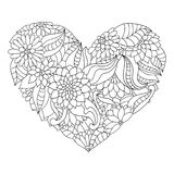 Hand drawn flower heart for adult anti stress colouring book. Coloring page with high details isolated on white background. Ornamental floral heart. Zentangle vector illustration