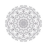 Hand drawn flower mandala for coloring book. Black and white eth Stock Photo