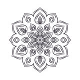 Hand drawn flower mandala for coloring book. Black and white eth Stock Images