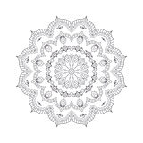 Hand drawn flower mandala for coloring book. Black and white eth Royalty Free Stock Photos