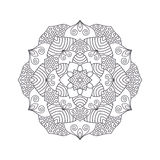 Hand drawn flower mandala for coloring book. Black and white eth Stock Image