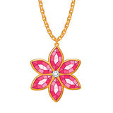 Hand drawn flower pendant necklace. Royalty Free Stock Photo