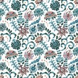 Hand drawn flower seamless pattern. Colorful seamless pattern with fantasy flowers and leaves. Doodle style. Perfect for royalty free illustration