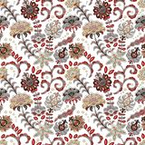 Hand drawn flower seamless pattern. Colorful seamless pattern with fantasy flowers and leaves. Doodle style. Perfect for stock illustration
