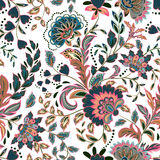 Hand drawn flower seamless pattern. Colorful seamless pattern with pargeting grunge whimsical flowers, paisley Royalty Free Stock Photos