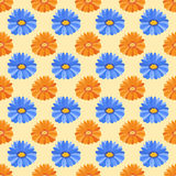 Hand drawn flower seamless pattern wallpaper with gerbera print ornament decoration and floral graphic art nature Stock Photography