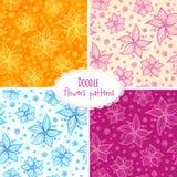 Hand drawn flower seamless patterns set Royalty Free Stock Photos