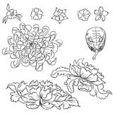 Hand drawn flower tattoo ,coloring book japanese style. Traditional tattoo Japanese tattoo style,The flower set with ocean and flower,Japanese carp line drawing Stock Photo