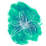Hand drawn flower on watercolor background.  stock illustration
