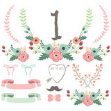 Hand Drawn Flower Wedding set Stock Photography