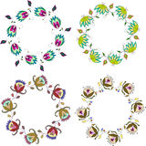 Hand drawn flower wreath, set of vector clip art floral frames Stock Photography
