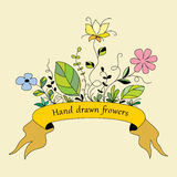 Hand drawn flowers 1 (color) Stock Images