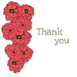 Hand drawn flowers background. Poppies frame Stock Image