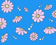 FLOWER DRAWING. HAND DRAWN FLOWERS WITH BLACK COLORED OUTLINE AND BLUE COLORED BACKGROUND royalty free illustration