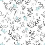 Hand drawn flowers and blue birds seamless pattern. stock illustration