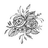 Hand drawn flowers bouquet  black on white Stock Photography